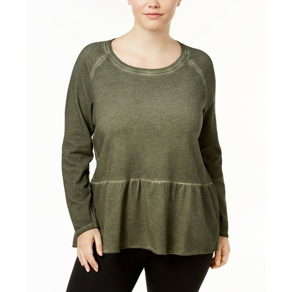 Style&Co Olive Green High-Low Hem Ruffled Sweater